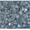 Square Beads 3.4x3.4mm Round Hole Green Luster